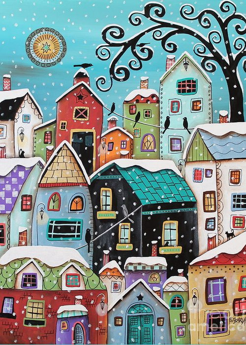 Winter Greeting Card featuring the painting Winter City by Karla Gerard