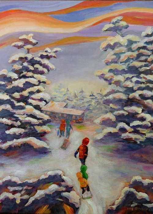 Winter In The Woods Greeting Card featuring the painting Winter Comfort by Naomi Gerrard