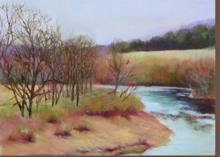 Landscape Greeting Card featuring the painting Winter Creek         Copyrighted by Kathleen Hoekstra