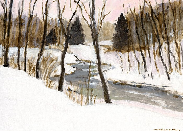 Winter Greeting Card featuring the painting Winter Creek by J Reifsnyder