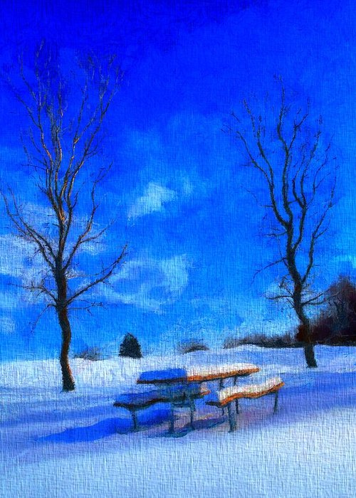 Winter Day On Canvas Greeting Card featuring the painting Winter Day On Canvas by Dan Sproul