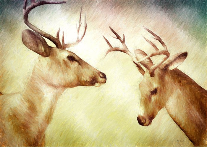 Deer Greeting Card featuring the painting Winter Deer by Bob Orsillo