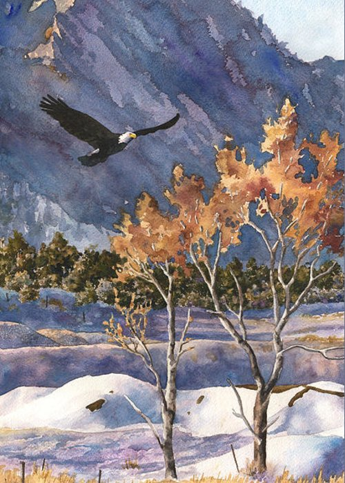 Colorado Rocky Mountain Painting Greeting Card featuring the painting Winter Drift by Anne Gifford