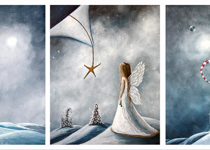Fairies Greeting Card featuring the painting Winter Fairies By Shawna Erback by Shawna Erback
