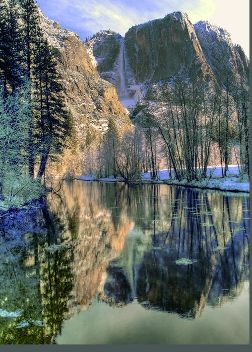 Yosemite Greeting Card featuring the photograph Winter Falls by Bill Gallagher