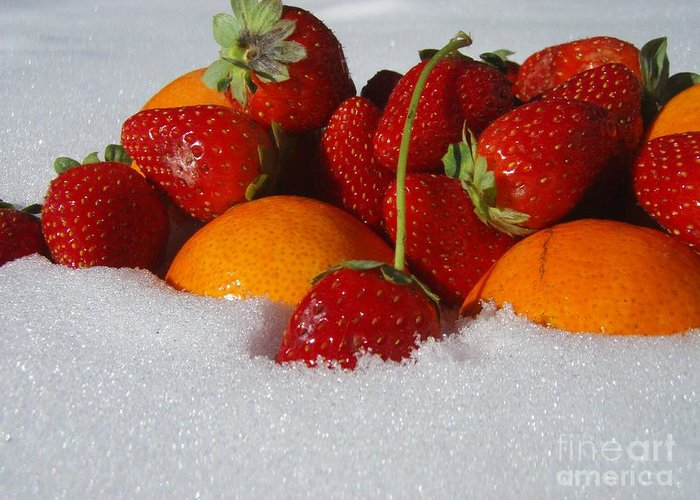 Fruit Strawberries Tangerines Snow Seasonal Greeting Card featuring the photograph Winter Feast by Kristine Nora