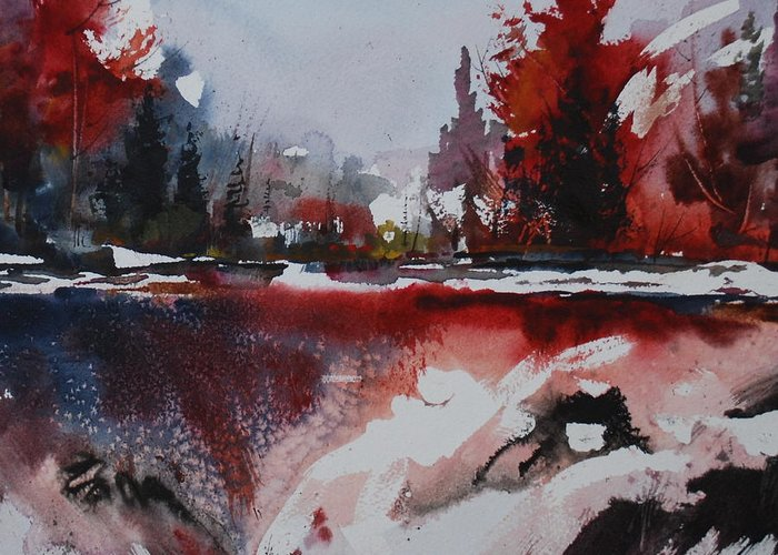 Forest Abstract Lakes Snow Winter Greeting Card featuring the painting Winter Firerworks by Wilfred McOstrich