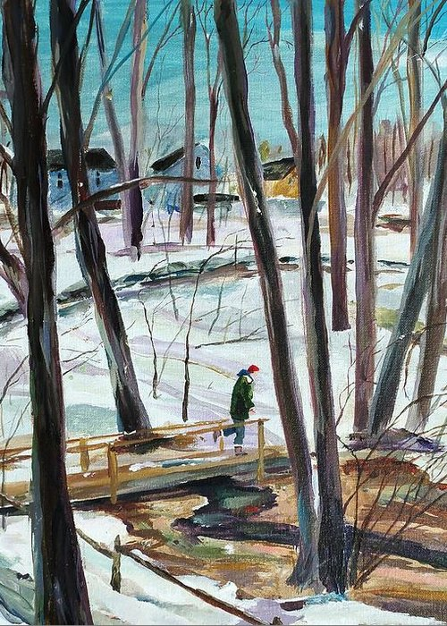 Acrylic Greeting Card featuring the painting Winter Footbridge by Scott Nelson