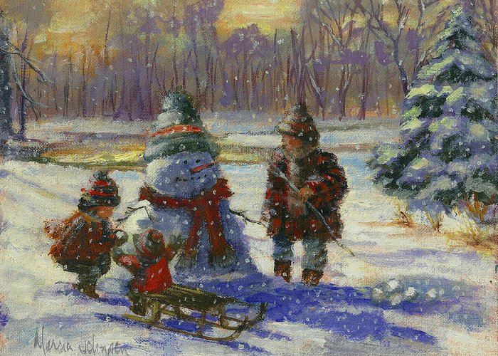 Christmas Greeting Card featuring the painting Winter Friend by Marcia Johnson