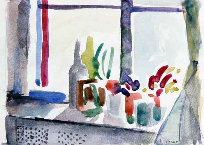 Watercolor Greeting Card featuring the painting Winter Garden Nyc by Mark Lunde