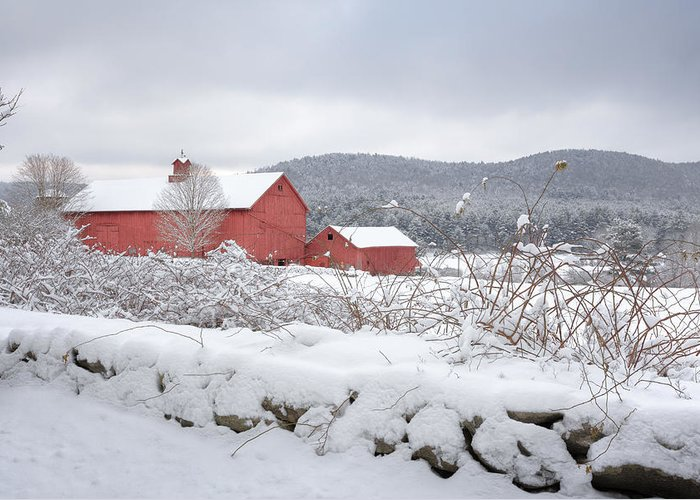 Old Red Barn Greeting Card featuring the photograph Winter In Connecticut by Bill Wakeley