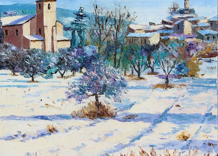 Jean-marc Janiaczyk Greeting Card featuring the digital art Winter In Lourmarin by Jean-Marc Janiaczyk