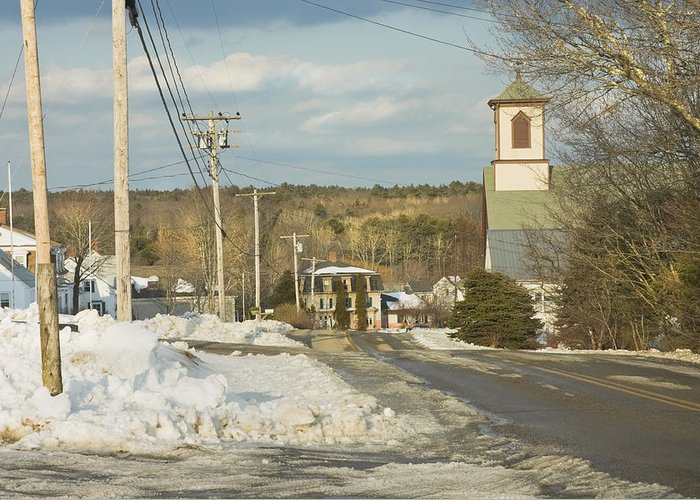 Town Greeting Card featuring the photograph Winter In Round Pond Maine by Keith Webber Jr