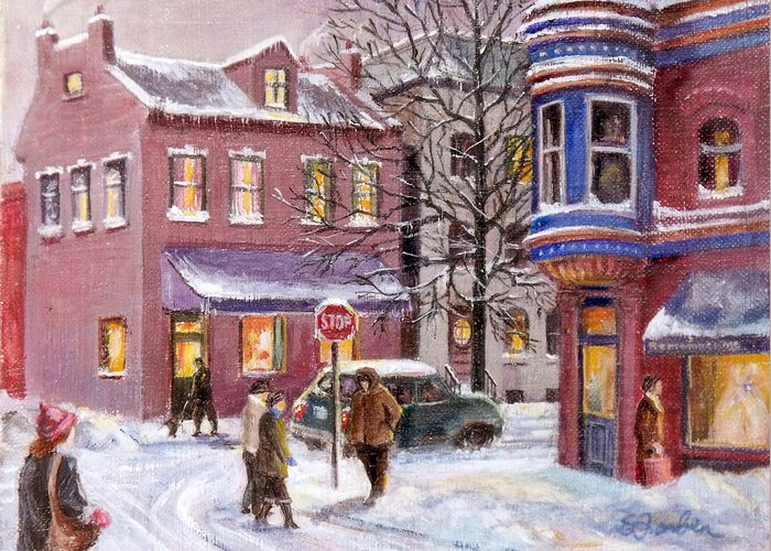 Streetscape Greeting Card featuring the painting Winter In Soulard by Edward Farber