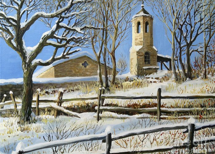 Architecture Greeting Card featuring the painting Winter In Stoykite by Kiril Stanchev