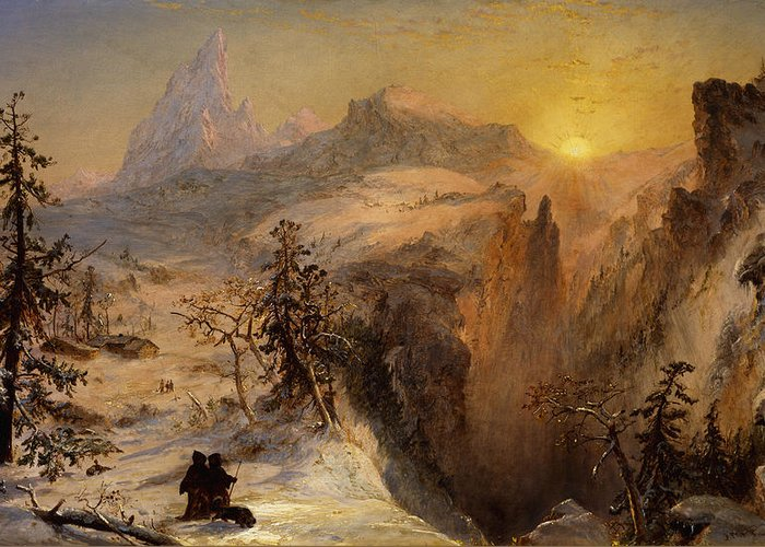1860s Greeting Card featuring the painting Winter In Switzerland by Jasper Francis Cropsey