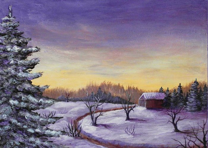 Winter Greeting Card featuring the painting Winter In Vermont by Anastasiya Malakhova