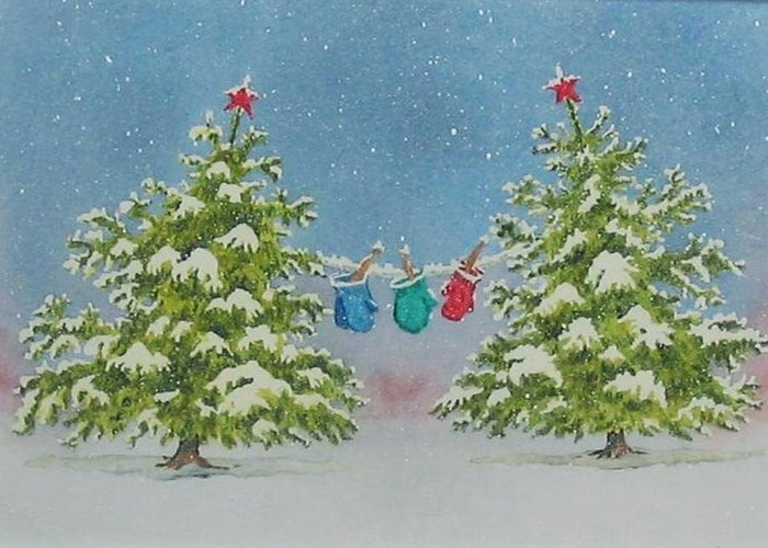 Fun Greeting Card featuring the painting Winter Is Fun by Mary Ellen Mueller Legault