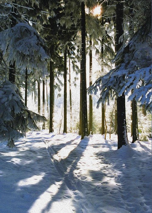 Sunny Greeting Card featuring the photograph Winter Landscape by Aged Pixel