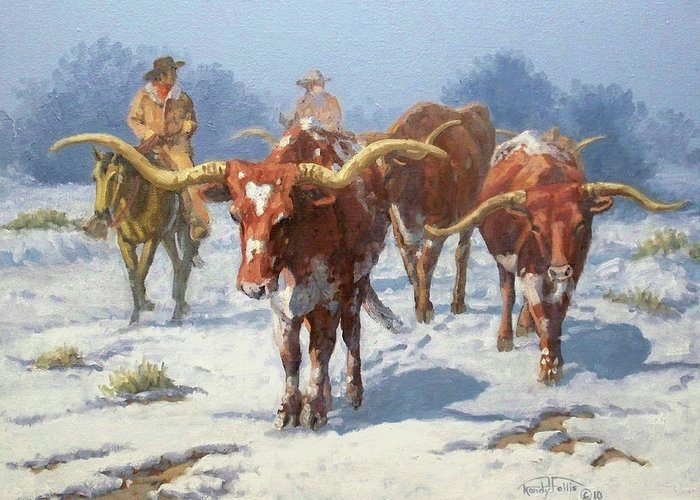 Longhorn Greeting Card featuring the painting Winter Longhorns by Randy Follis