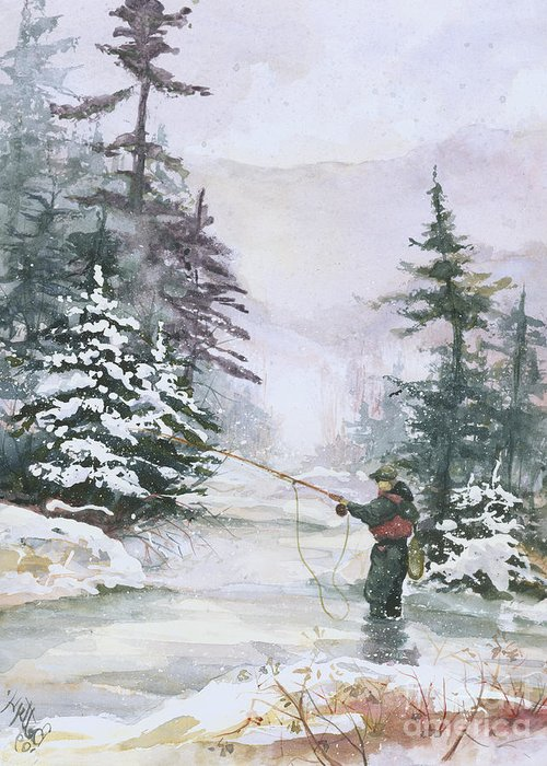 Magic Greeting Card featuring the painting Winter Magic by Elisabeta Hermann