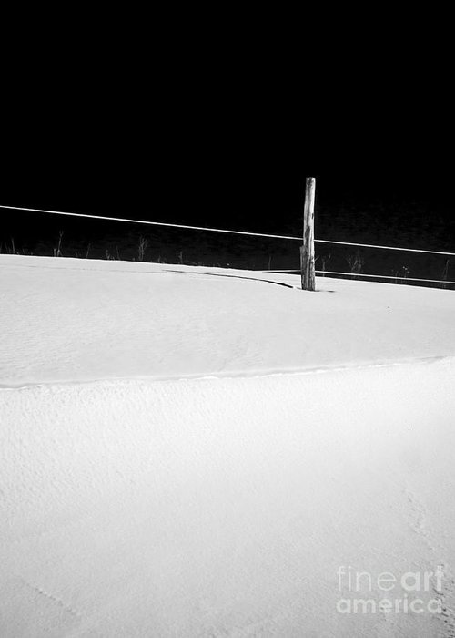 Black Greeting Card featuring the photograph Winter Minimalism Black And White by Edward Fielding