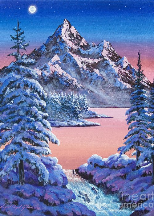 Landscape Greeting Card featuring the painting Winter Moon by David Lloyd Glover