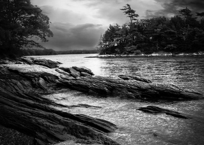 Shore Greeting Card featuring the photograph Winter Moonlight Wolfes Neck Woods Maine by Bob Orsillo