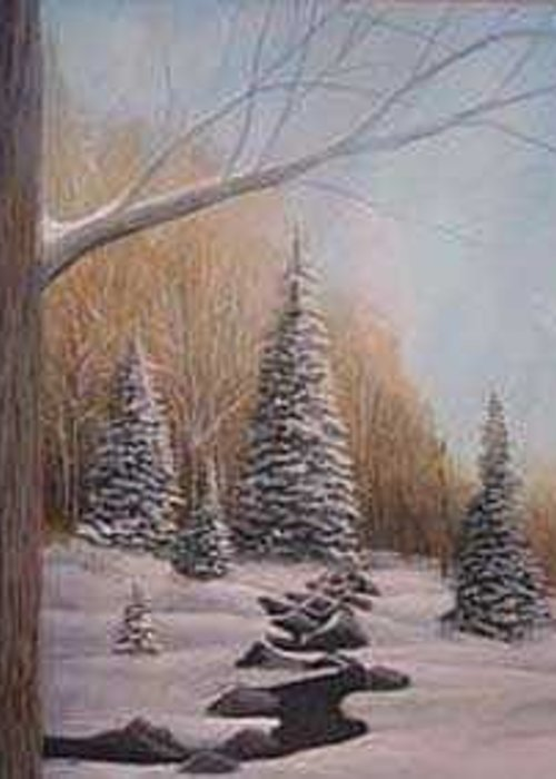 Rick Huotari Greeting Card featuring the painting Winter Morning by Rick Huotari