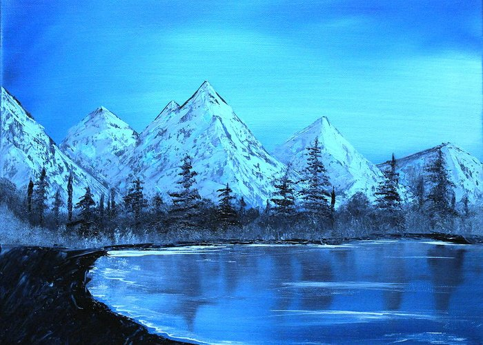 Landscape Greeting Card featuring the painting Winter Mountain Lake by Ryan Heath