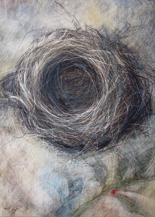 Nest Greeting Card featuring the mixed media Winter Nest by Tonja Sell