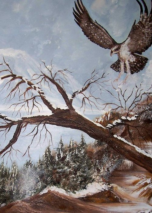 Eagle Greeting Card featuring the painting Winter Nesting by Martha Mullins