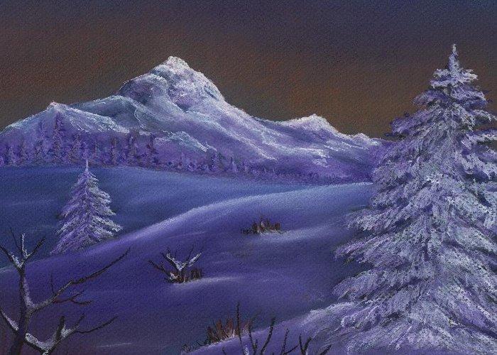 Calm Greeting Card featuring the painting Winter Night by Anastasiya Malakhova