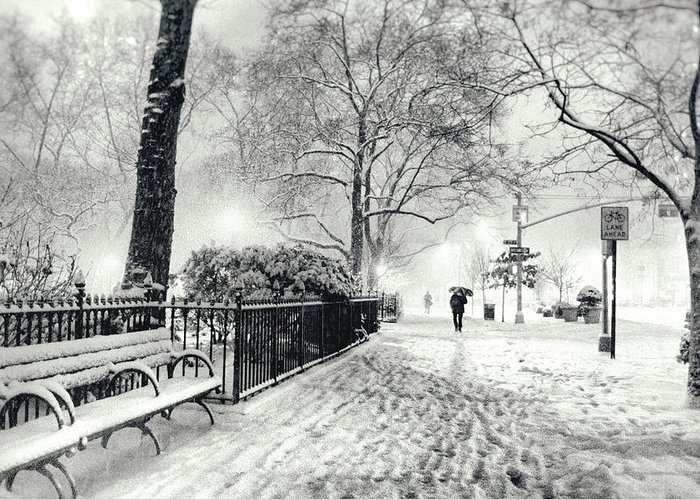 New York City Greeting Card featuring the photograph Winter Night - Snow - Madison Square Park - New York City by Vivienne Gucwa