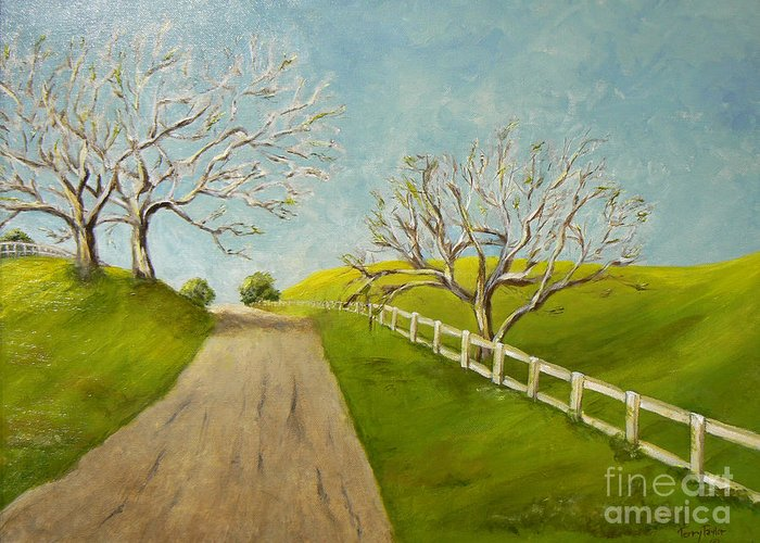 Winter Greeting Card featuring the painting Winter Oaks by Terry Taylor