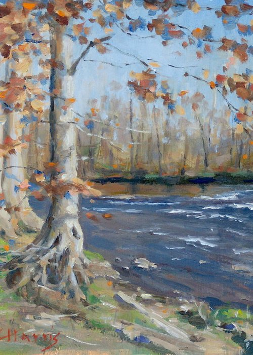 Edwin Warner Parks Greeting Card featuring the painting Winter On The Little Harpeth by Sandra Harris