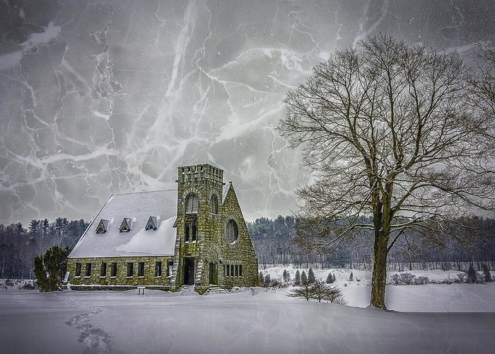 Winter Greeting Card featuring the photograph Winter on the Old Stone Church by Bob Bernier