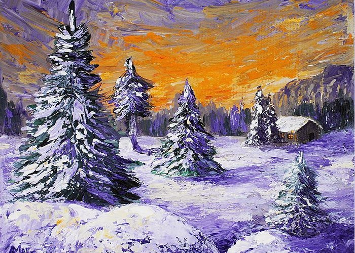 Stowe Greeting Card featuring the painting Winter Outlook by Anastasiya Malakhova