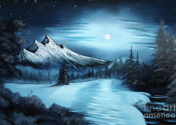 Winter Painting A La Bob Ross Greeting Card For Sale By Bruno Santoro
