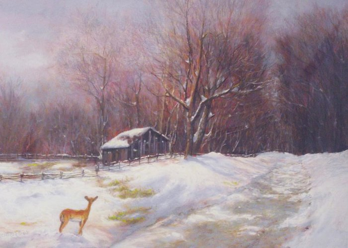 Deer Greeting Card featuring the pastel Winter Palette by Howard Scherer
