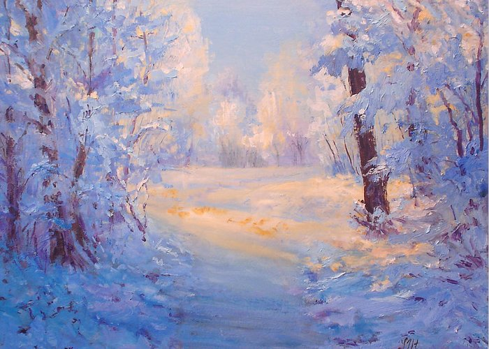 Landscape Greeting Card featuring the painting Winter Path. by Julia Utiasheva