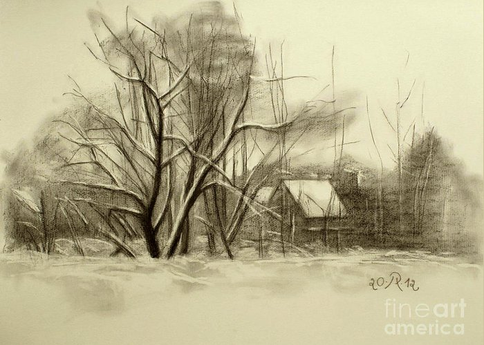 Landscape Greeting Card featuring the drawing Winter by Raimonda Jatkeviciute-Kasparaviciene