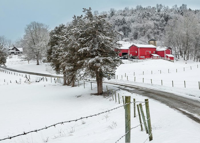 Old Red Barn Greeting Card featuring the photograph Winter Road by Bill Wakeley