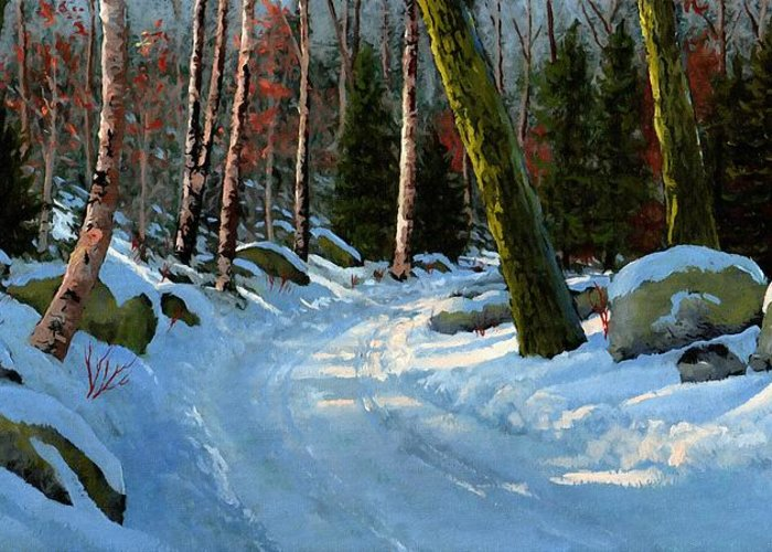 Landscape Greeting Card featuring the painting Winter Road by Frank Wilson