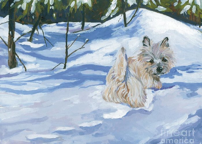 Cairn Terrier Greeting Card featuring the painting Winter Romp by Molly Poole