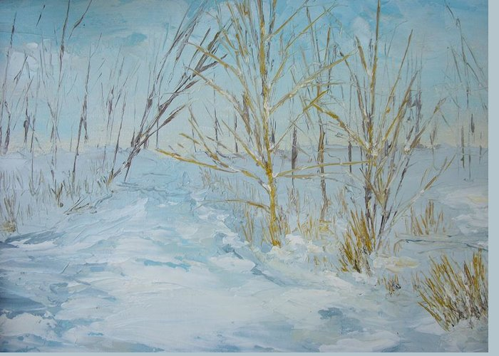 Landscape Greeting Card featuring the painting Winter Scene by Dwayne Gresham
