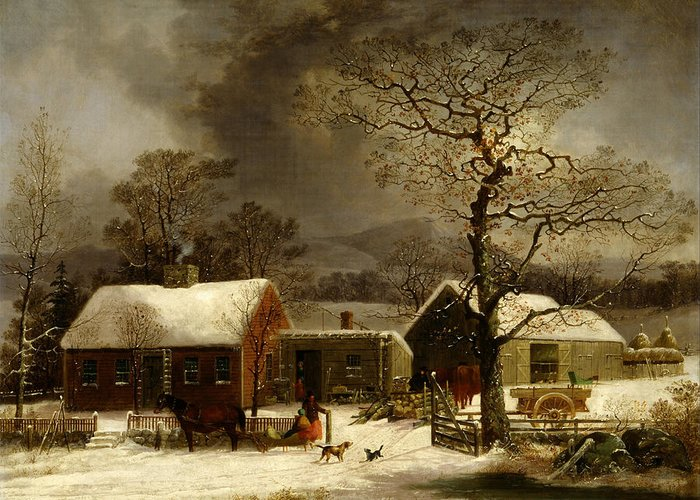 Painting Greeting Card featuring the painting Winter Scene In New Haven Connecticut 1858 By Durrie by Movie Poster Prints