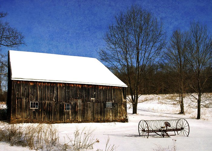 Winter Greeting Card featuring the photograph Winter Scenic Farm by Christina Rollo