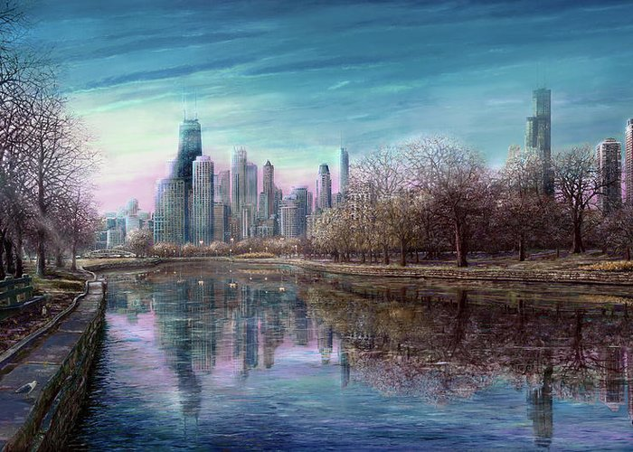 Winter In Chicago Greeting Card featuring the painting Winter Serenity Deep by Doug Kreuger