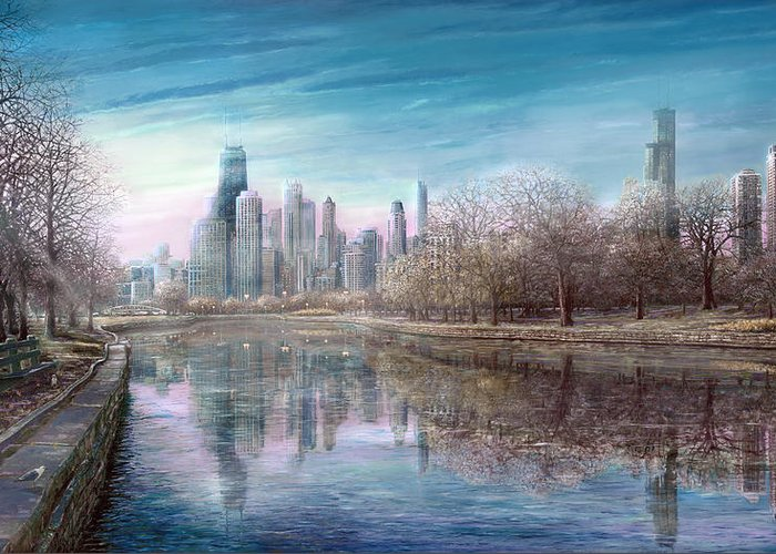 Winter In Chicago Greeting Card featuring the painting Winter Serenity Frost by Doug Kreuger